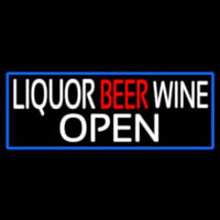 Liquor Beer Wine Open With Blue Border Enseigne Néon