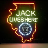 New Jack Daniels Lives Here Illinois Old #7 Whiskey Neon Bière Enseigne