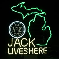 New Jack Daniels Lives Here Michigan Whiskey Real Neon Bière Bar Enseigne