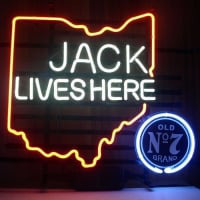 New Jack Daniels Lives Here Ohio Old #7 Whiskey Real Neon Bière Bar Enseigne