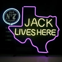 New Jack Daniels Lives Here Texas Old #7 Whiskey Real Neon Bière Bar Enseigne