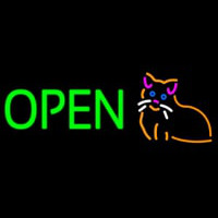Open Cat Logo Green Letters Enseigne Néon