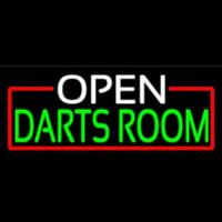 Open Darts Room With Red Border Enseigne Néon