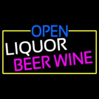 Open Liquor Beer Wine With Yellow Border Enseigne Néon