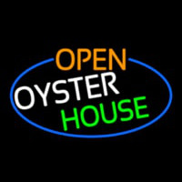 Open Oyster House Oval With Blue Border Enseigne Néon