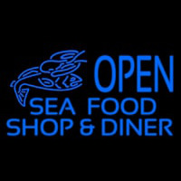 Open Seafood Shop And Diner Enseigne Néon