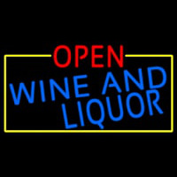 Open Wine And Liquor With Yellow Border Enseigne Néon