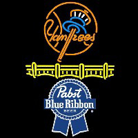 Pabst Blue Ribbon New York Yankees Beer Sign Enseigne Néon