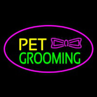 Pet Grooming Logo Oval Purple Enseigne Néon