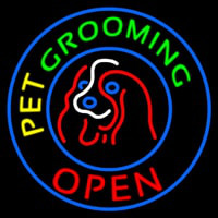 Pet Grooming Open Block Enseigne Néon