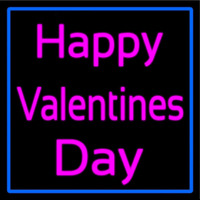 Pink Cursive Happy Valentines Day With Blue Border Enseigne Néon