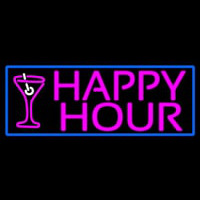 Pink Happy Hour And Wine Glass With Blue Border Enseigne Néon