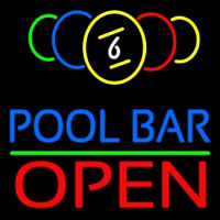 Pool Bar Open Enseigne Néon