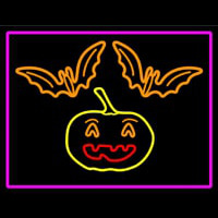 Pumpkin And Bats With Pink Border Enseigne Néon