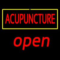 Red Acupuncture Yellow Border Open Enseigne Néon