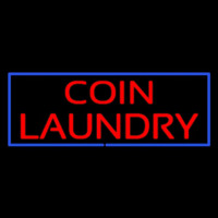 Red Coin Laundry Blue Border Enseigne Néon