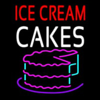 Red Ice Cream Cakes Logo Enseigne Néon