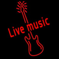 Red Live Music Guitar Enseigne Néon