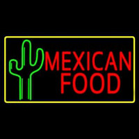 Red Me ican Food With Cactus Logo Enseigne Néon