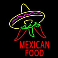 Red Mexican Food Logo Enseigne Néon