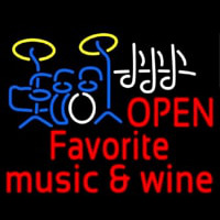 Red Open Music Fovorite Music And Wine Enseigne Néon