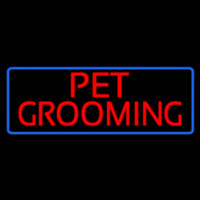 Red Pet Grooming Blue Border Enseigne Néon