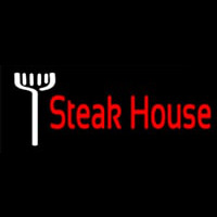 Red Steakhouse With Fork Enseigne Néon