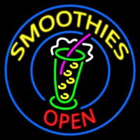 Round Yellow Smoothies Open Enseigne Néon