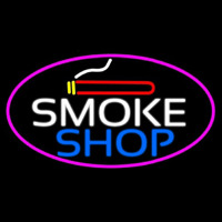 Smoke Shop And Cigar Oval With Pink Border  Enseigne Néon