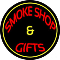 Smoke Shop And Gifts With Yellow Border Enseigne Néon