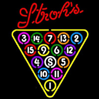 Strohs 15 Ball Billiards Pool Beer Sign Enseigne Néon