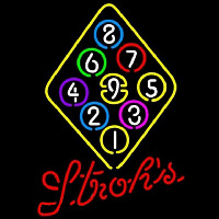 Strohs Ball Billiards Rack Pool Beer Sign Enseigne Néon
