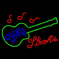 Strohs Blues Guitar Beer Sign Enseigne Néon