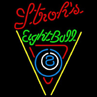 Strohs Eightball Billiards Pool Beer Sign Enseigne Néon