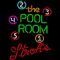 Strohs Pool Room Billiards Beer Sign Enseigne Néon