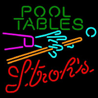Strohs Pool Tables Billiards Beer Sign Enseigne Néon