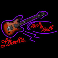 Strohs Rock N Roll Electric Guitar Beer Sign Enseigne Néon
