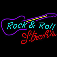 Strohs Rock N Roll Guitar Beer Sign Enseigne Néon