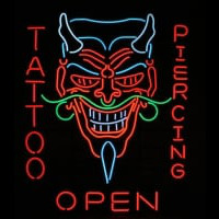 Tattoo Body Piercing Shop OPEN Enseigne Néon