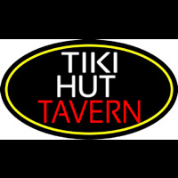 Tiki Hut Tavern Oval With Yellow Border Enseigne Néon