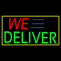 We Deliver Yellow Rectangle Enseigne Néon