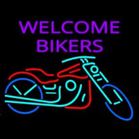 Welcome Bikers With Bike Enseigne Néon