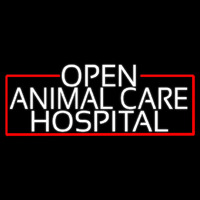 White Animal Care Hospital With Red Border Enseigne Néon