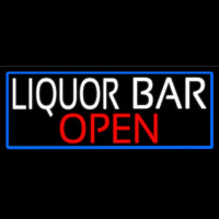 White Liquor Bar Open With Blue Border Enseigne Néon