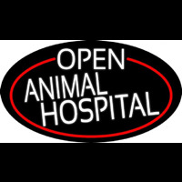 White Open Animal Hospital Oval With Red Border Enseigne Néon