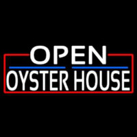 White Open Oyster House With Red Border Enseigne Néon