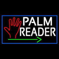 White Palm Reader With Green Arrow Enseigne Néon