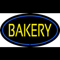 Yellow Bakery Oval Blue Enseigne Néon