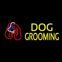Yellow Dog Grooming With Logo Enseigne Néon