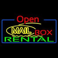 Yellow Mail Block Bo  Rental Open 4 Enseigne Néon